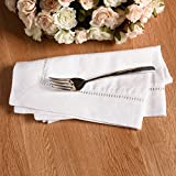 Simple&Opulence 100% Linen Hemstitch Lace Dinner Cloth Napkin 18''x18'' Pure Color Set Of 4 (White)