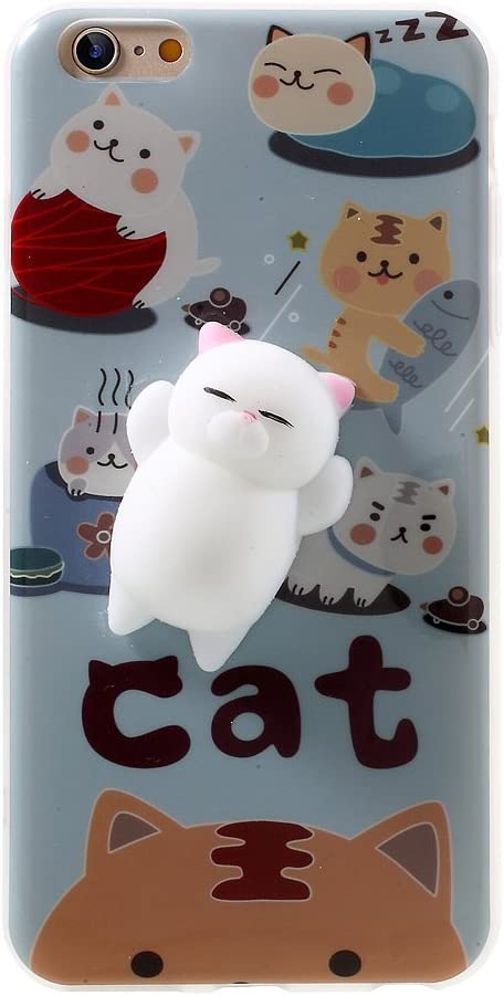 Squishy Cat iPhone 6 / 6S / 7/7 Plus Case, 3D Cute Soft Silicone Cartoon Squishy Cute Cat Healing Stress Reduce Relieve Ball Phone Cover (C)