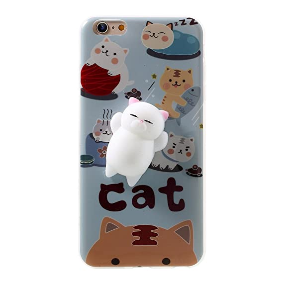 wholesale dealer 460d8 f3cc2 Kneading Squishy Cat iPhone 6s / 6 Case, XYIYI Finger Pinch 3D Cute Soft  Silicone Poke Squishy Cat Phone Back Protective Cover for Apple iPhone 6/6S  ...