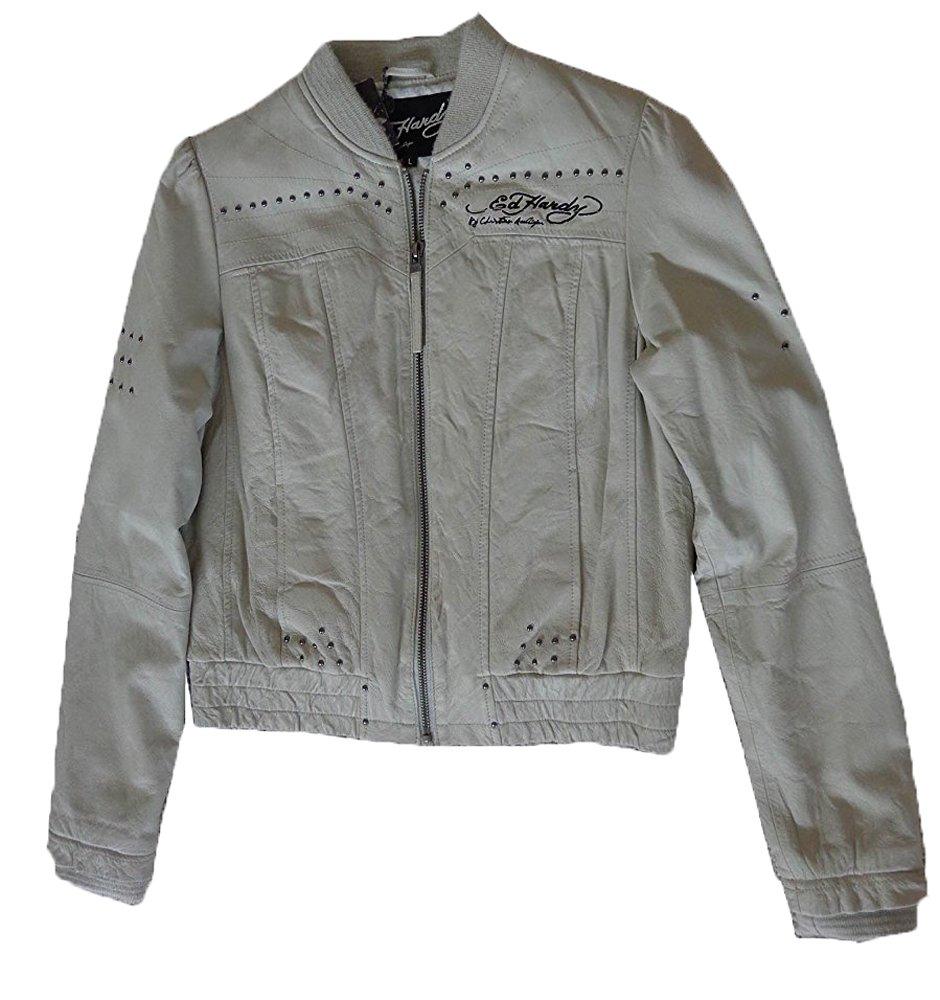 Ed Hardy Womens Love & Roses Leather Jacket (L, Cool White)