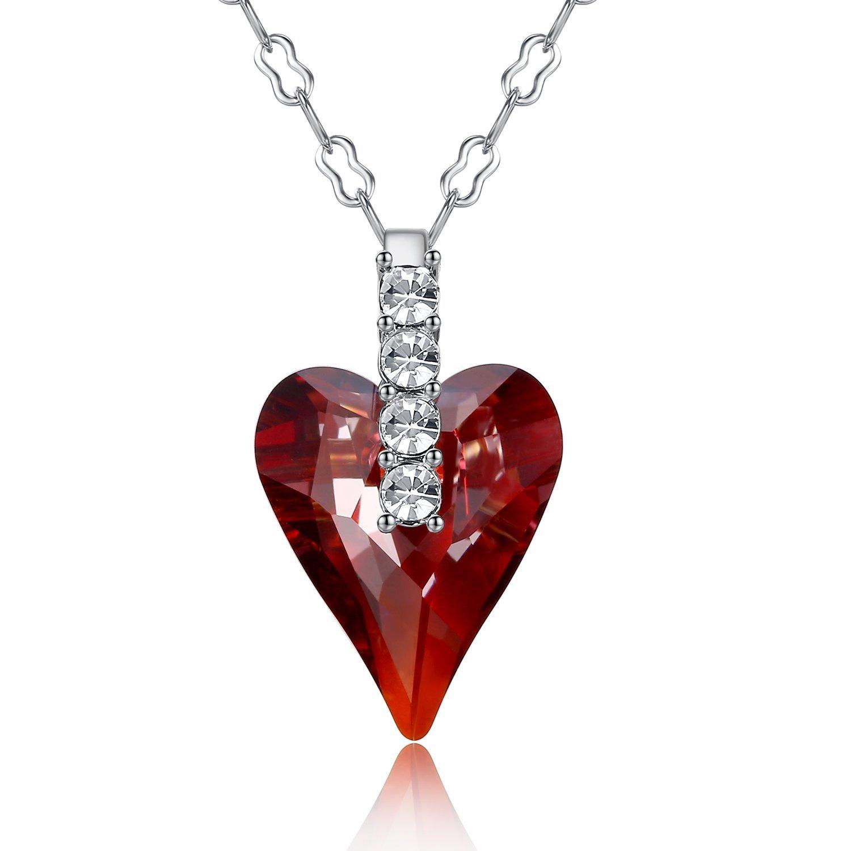 GoSparkling Crystal Heart oro blanco K plateó el collar pendiente con el