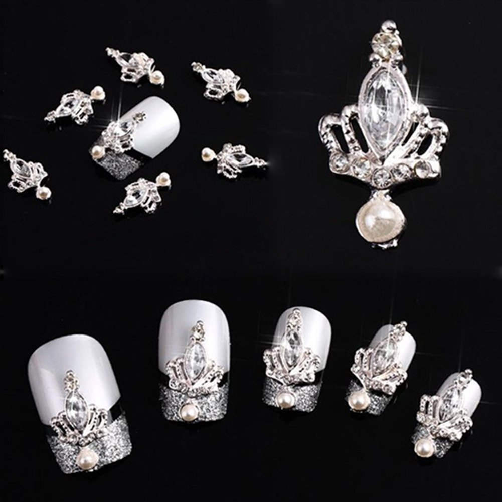 10pcs 3D Silver Crown Crystal Rhinestone Alloy Nail Art Glitters DIY Decoration Broadfashion UKAIALIDTV2193