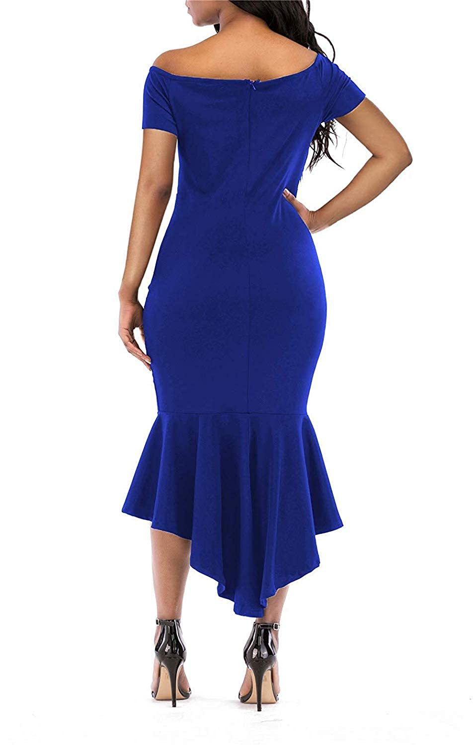 KISSMODA Womens Bodycon Dress Off The Shoulder Mermaid Evening Party Gown