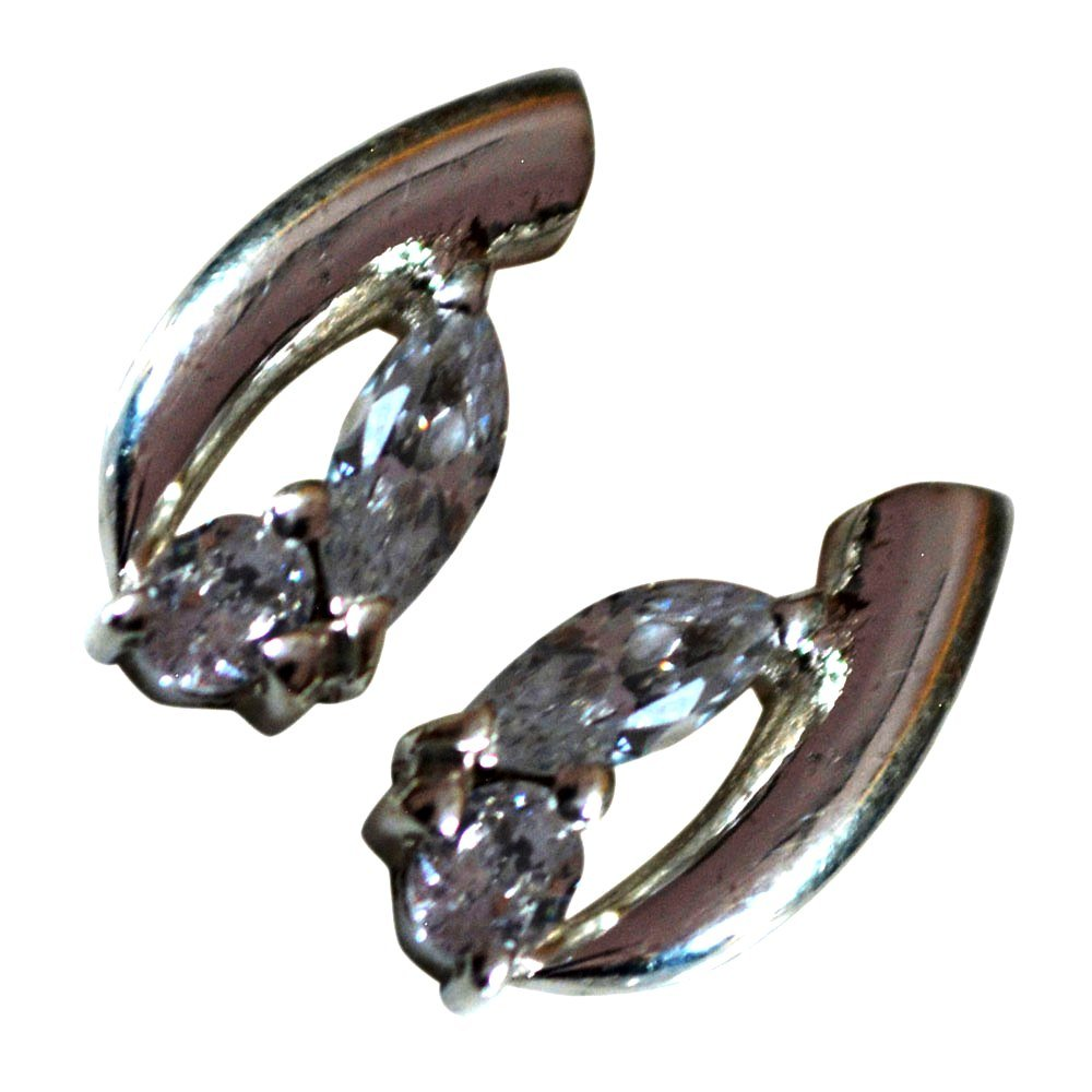 White Cubic Zircon Earings Studs For Women /& Girls Gorgeous Silver Handmade Mixed Shape Gemstone One Pair