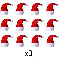 Funhoo 36Pcs Mini Gorros de Papá Noel/Navidad, Mini
