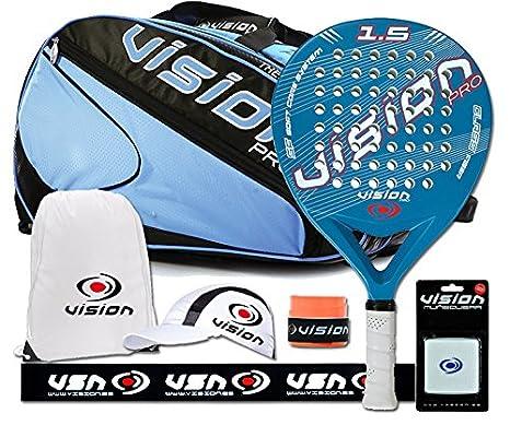 Vision Pack de Padel con Pala Milky Blue 1.5 paletero y 6 accesorios, Azul