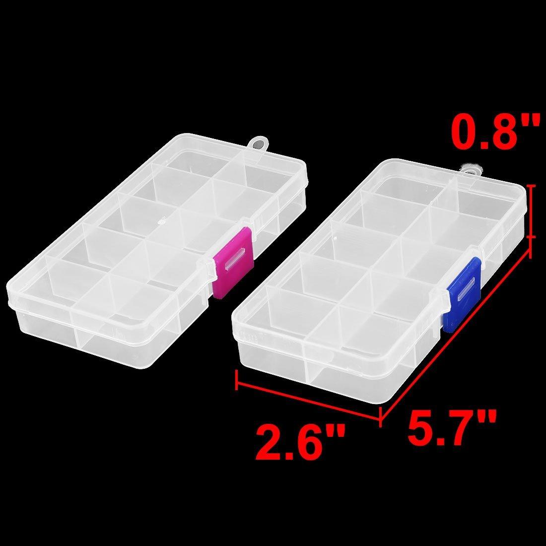Amazon.com: eDealMax plástico Inicio del rectángulo 10 compartimentos granos de la joyería del clavo de la caja de almacenaje 2pcs: Home & Kitchen