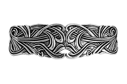 Art Nouveau Swirl Hair Clip - Hand Crafted Metal Barrette Made in the USA with a Large 80mm Imported French Clip By Oberon Design