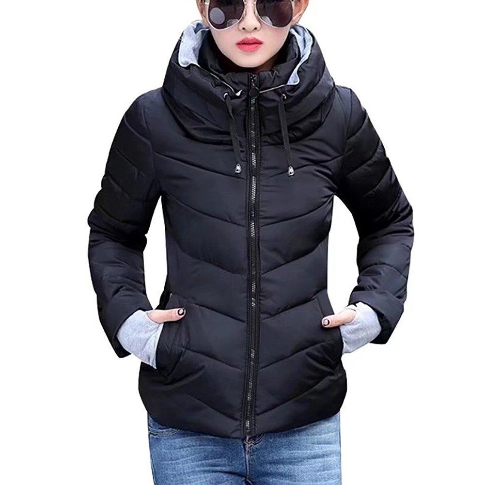 Chaqueta a prueba de viento de mujeres - Zip Up Chaqueta acolchada corta de invierno Chaqueta de moda Acolchado Casual Outwear D171017SY1-X