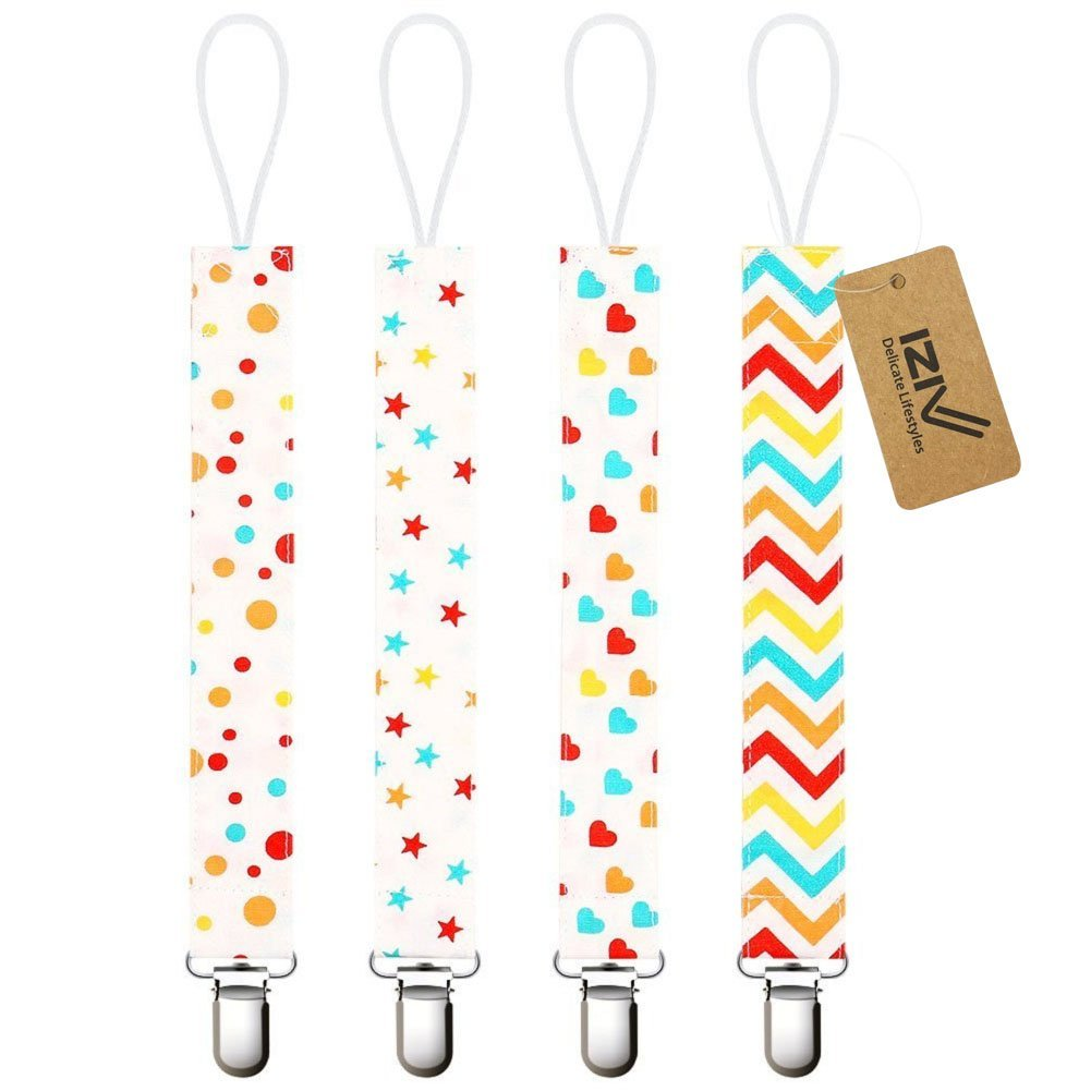 iZiv(TM) Baby Pacifier Clip Holder - 4 Pack - Unisex Pattern Design - Teething Ring Toys, Pacifier Leash, Stylish Shower Gift Set (Color-1) Dlife DF1103PT