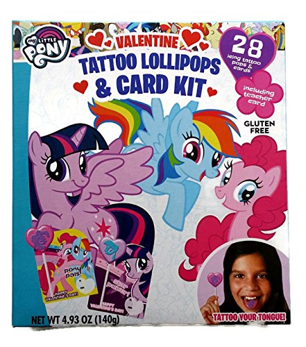 My Little Pony Valentine Exchange Cards with Tattoo Lollipops 28ct - Including Teacher Card