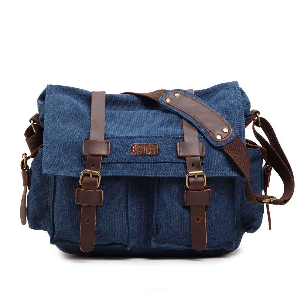 Buy Kattee Men s Canvas Cow Leather DSLR SLR Vintage Camera Shoulder Messenger  Bag Blue Online at Low Price in India  774b6e625613b