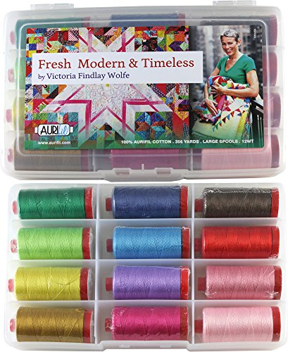 Fresh Modern & Timeless Thread Kit 12wt 12 Large (356 yard) Spools Aurifil by Aurifil