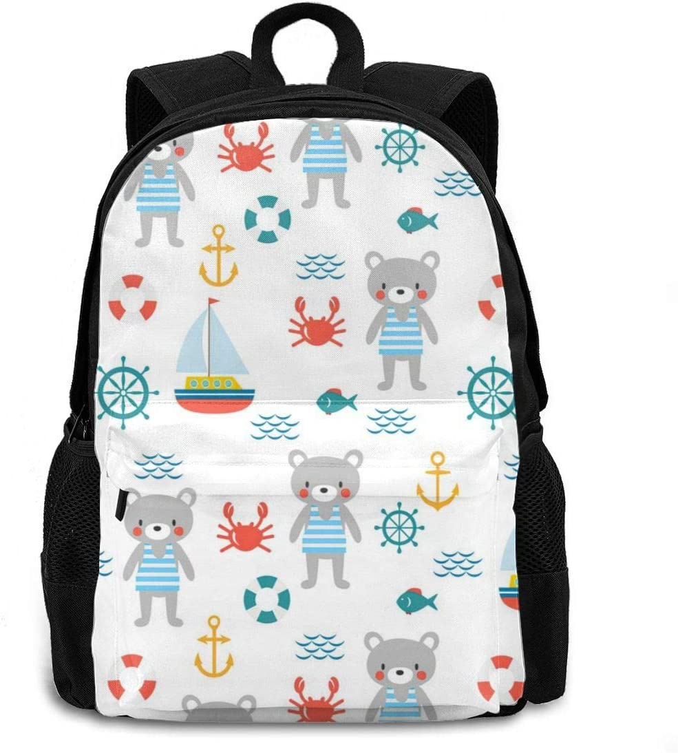 Cute Bear and Anchor Backpack Laptop Exercise Backpack Lightweight Laptops Backpack College Computer Bag for Women and Men Fits 15 Inch Laptop