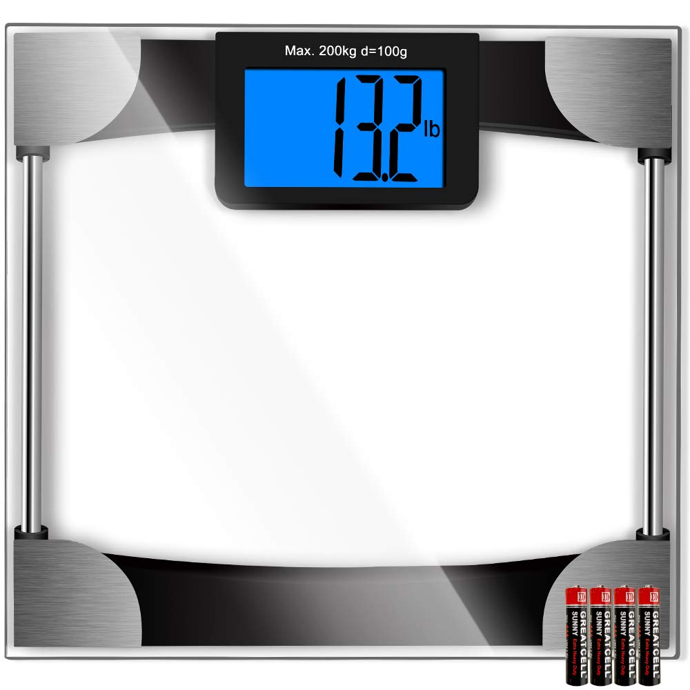 Kasonic Digital Body Weight Bathroom Scale - Large Digits LCD Display; Max Weight 440 Pounds; 8MM Thickness Tempered Glass; 4Pcs AAA Battery Include; Anti Slip Bottom Pads Technology