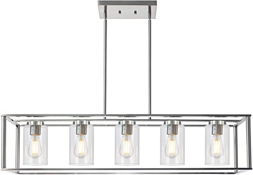 VINLUZ Contemporary Chandeliers Brushed Nickel 5 Light Modern Vintage Dining Room Lighting Fixtures Hanging, Kitchen Island Linear Pendant Lights Farmhouse Flush Mount Ceiling Light with Glass Shade
