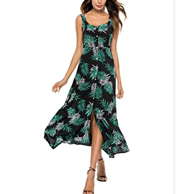 56e8c87dfc DAYLIN Newest Clearance Womens Striped Long Boho Lady Chiffon Beach Summer  Sundrss Button Down Maxi Dress (XL, Black): Amazon.co.uk: Clothing