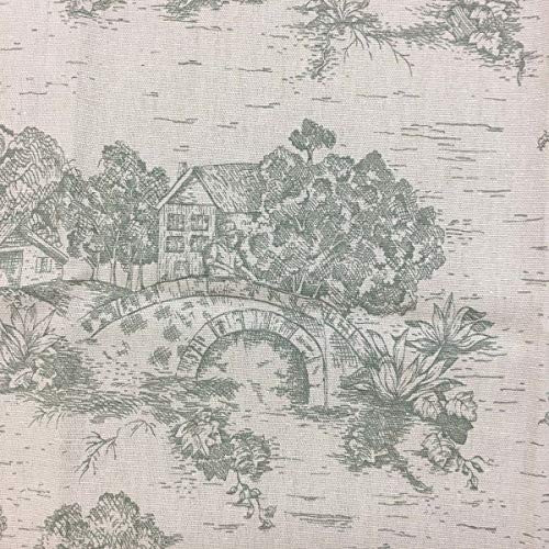 by The Yard - Roll A - Green Toile Fabric on Beige Drapery/Light Upholstery Fabric by The Yard