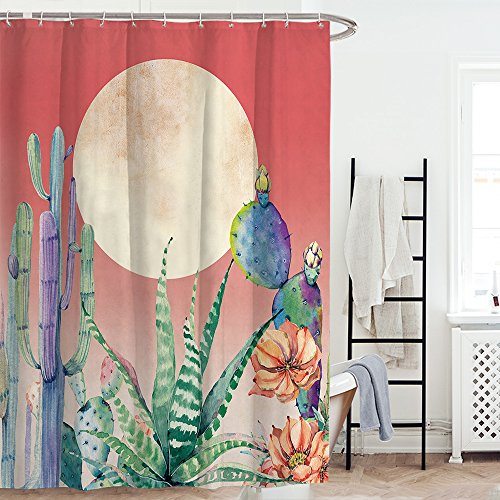 Cactus Costume Pattern (Waterproof Shower Curtain Sea Turtle Octopus Bathroom With 12 Hooks Mildew Resistant Cactus)
