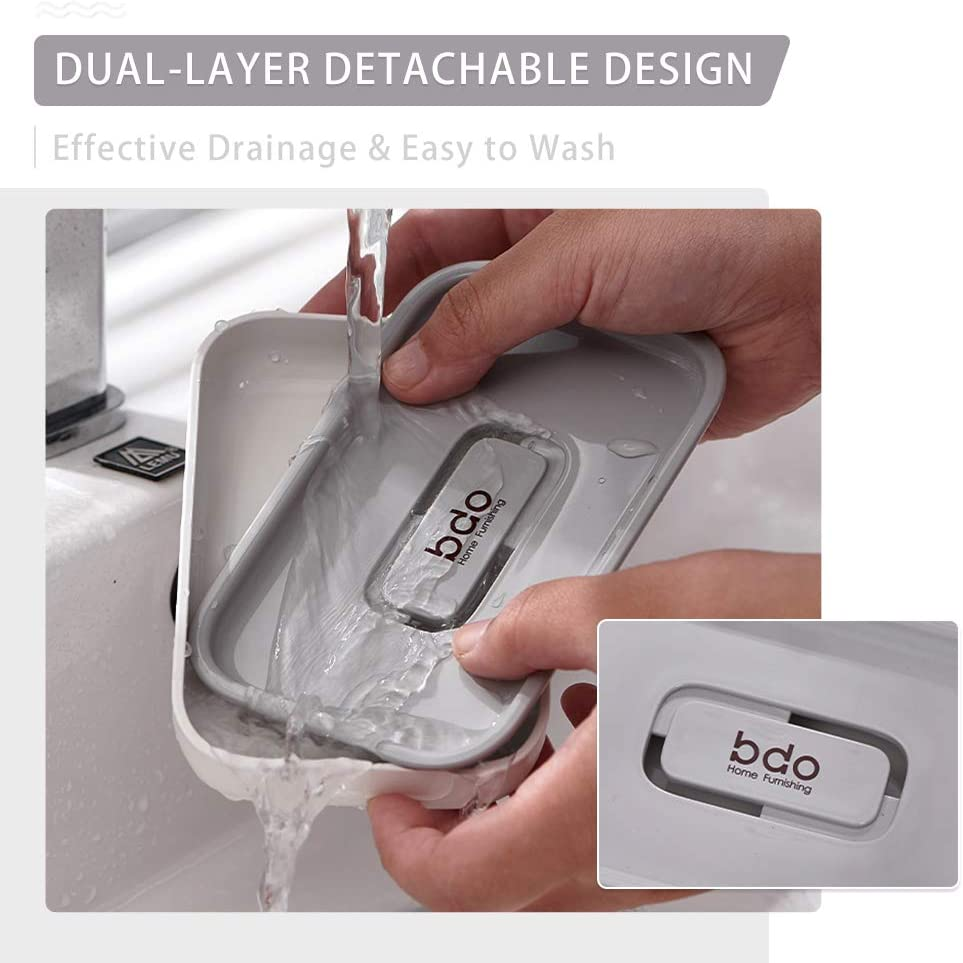 KOCAWIS Soap Dishes for Bathroom with Drainage Soap Holder 2 Layer White /& Grey Plastic Shower Soap Dish Stylish Soap Box Nordic Style Soap Cases for Home Kitchen