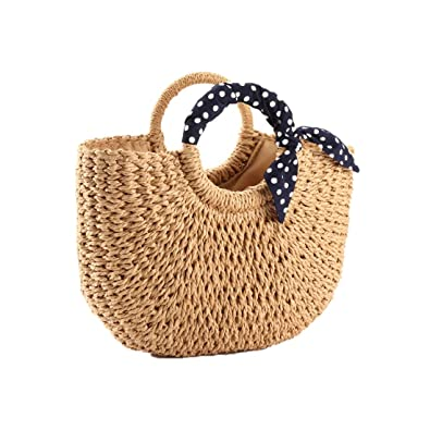 782abd8a5c9061 YOUNG-X Handmade Straw Purse Hobo Min Tote Natural Vintage Bag, Women Round  Handle