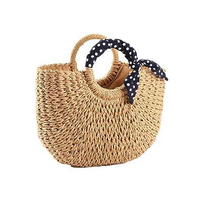 Amazon.com: YOUNG-X Bolso de paja hecho a mano Hobo Mini ...