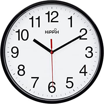 2 Pack Silent Non Ticking Quartz Wall Clock by Hippih Battery Operated 10 Inch Round Easy to Read for Home Office School Decor Clock