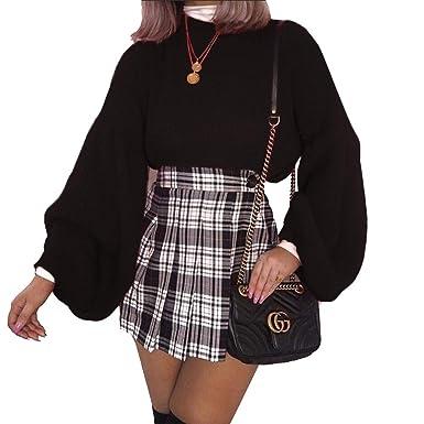 02083cae857 PRETTYGARDEN Women s Loose Drop Shoulder Lantern Sleeve Round Neck Fashion  Pullover Sweater Tops (Black