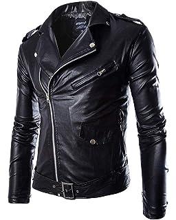 BOLAWOO Herren Pu Brando Kunstleder Jacke Motorrad Lederjacke Biker Slim  Fit Mode Marken Freizeit Jacke Langarm 20e86a67a4