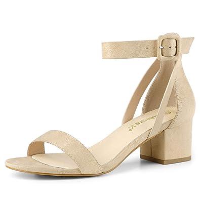 5219b84cf53a3 Allegra K Women's Ankle Strap Block Low Heel Sandals Beige US 6 /UK 4 /
