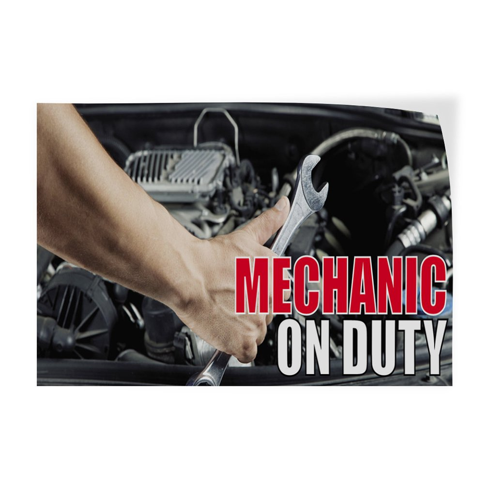 Decal Sticker Multiple Sizes Mechanic On Duty #1 Style G Business Mechanic On Duty Outdoor Store Sign Black 14inx10in Set of 10
