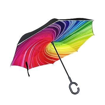 DragonSwordlinsu Paraguas inverso de Doble Capa para Coche y Exterior, Resistente al Viento, Resistente