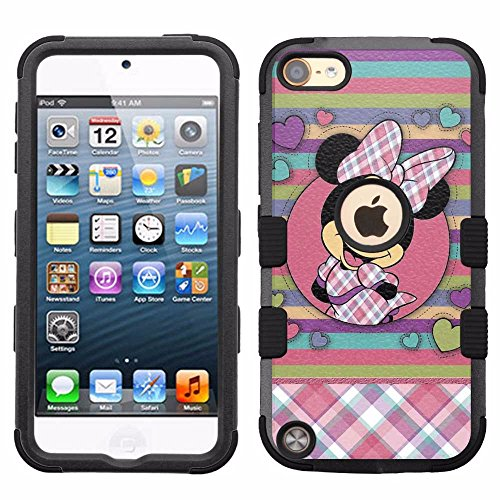 for iPod Touch 5/6, Hard+Rubber Dual Layer Hybrid Heavy-Duty Rugged Armor Cover Case - Minnie Mouse - Case Minnie 5 Mouse For Ipod