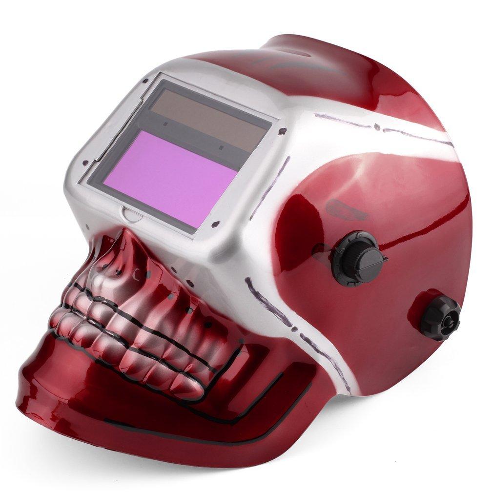 Solar Pro Auto Darkening Welding Helmet Arc Tig Mig Mask with Red Skull Pattern