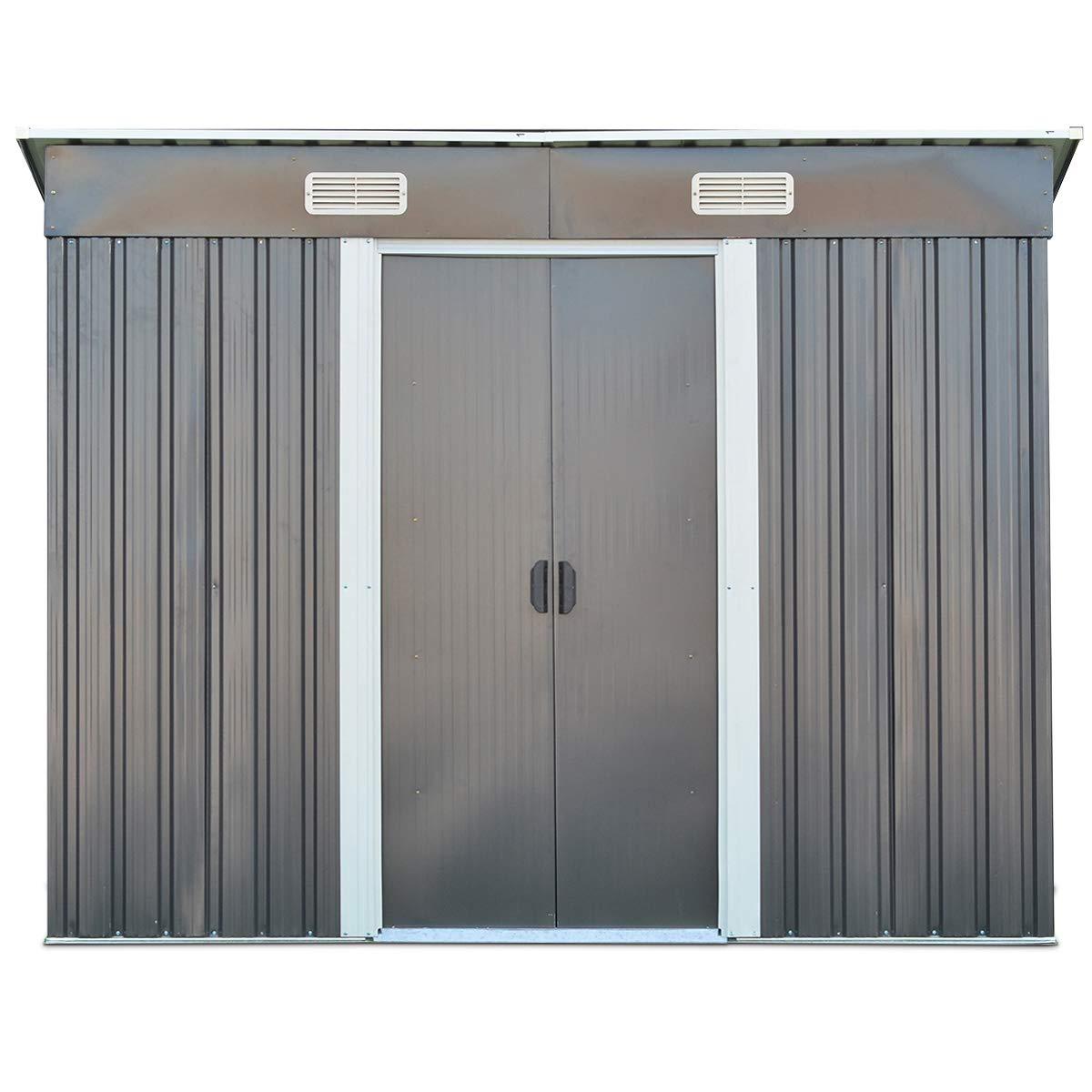 COSTWAY Metal Cobertizo - Cobertizo para jardín (Casa de ...