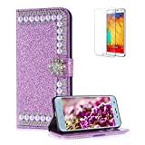 Funyye Pearl Rhinestone Purple Leather Case for Samsung Galaxy J6 2018,Stylish 3D Diamond Buckle Flip Snap Wallet Case with Stand Credit Card Holder Slots for Samsung Galaxy J6 2018,Anti Scratch Full Body Soft Silicone PU Leather Case for Samsung Galaxy J6 2018 + 1 x Free Screen Protector