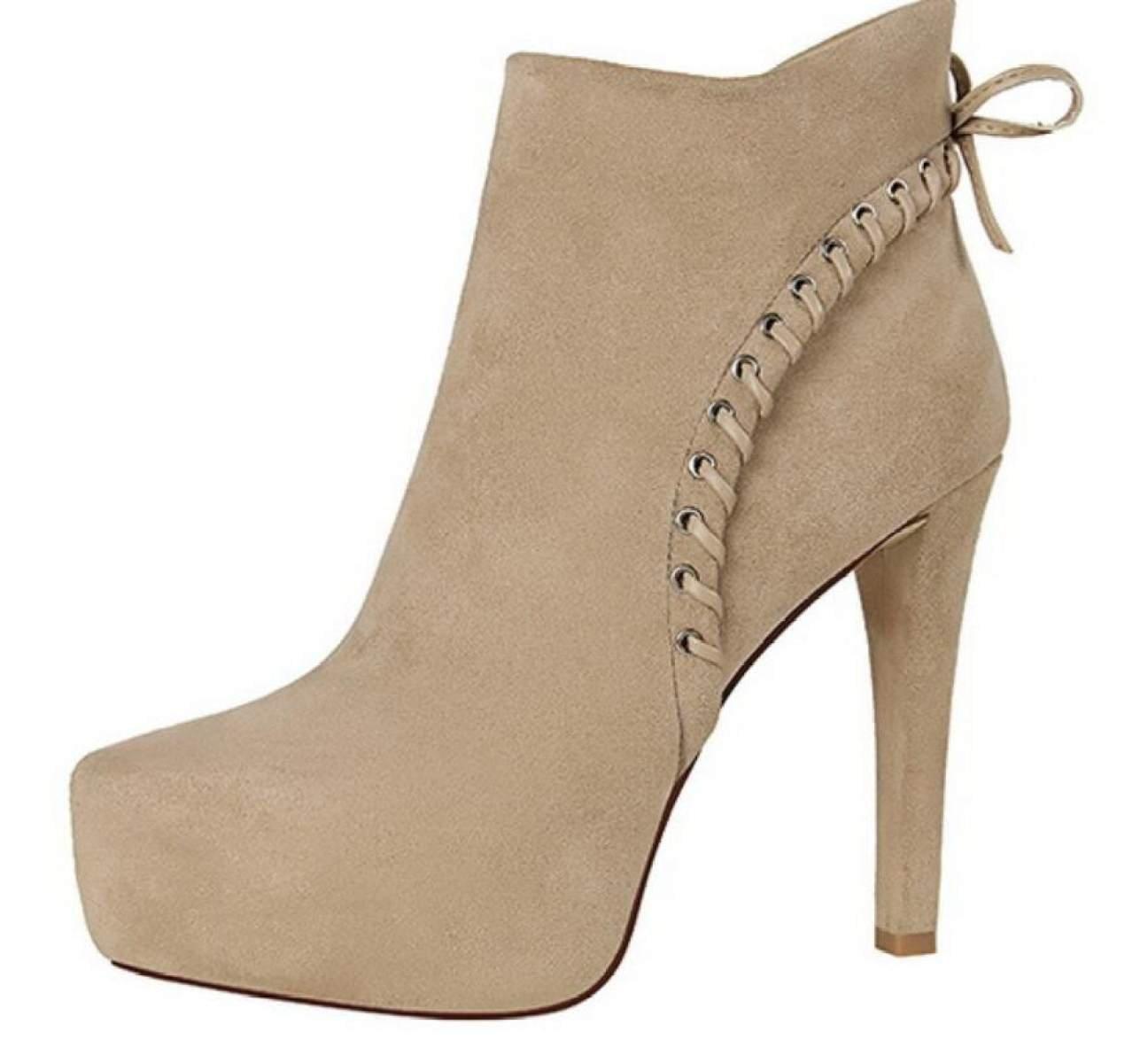 CHENSH Schuhe High Heels Retro Knight Stiefel Mode Wasserdichte Wildleder Stiefel