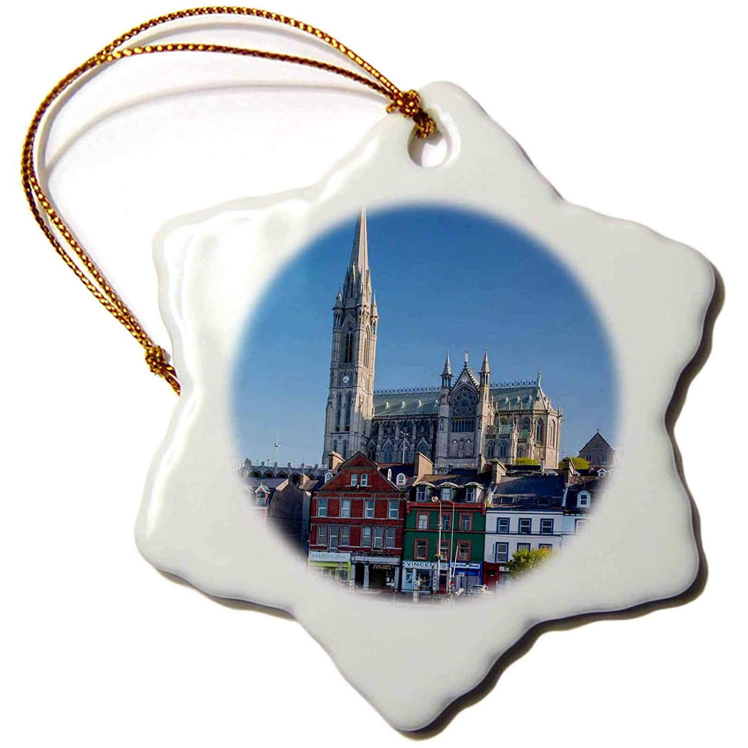 Ireland Snowflake Ornament Cobh 3dRose Fishing Boats Below St Coleman Cathedral 3