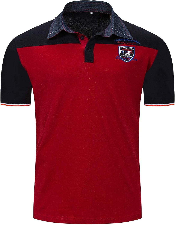 IYFBXl New Spring and Summer European and American Mens Short-Sleeved Shirt Mens Lapel t-Shirt FM031