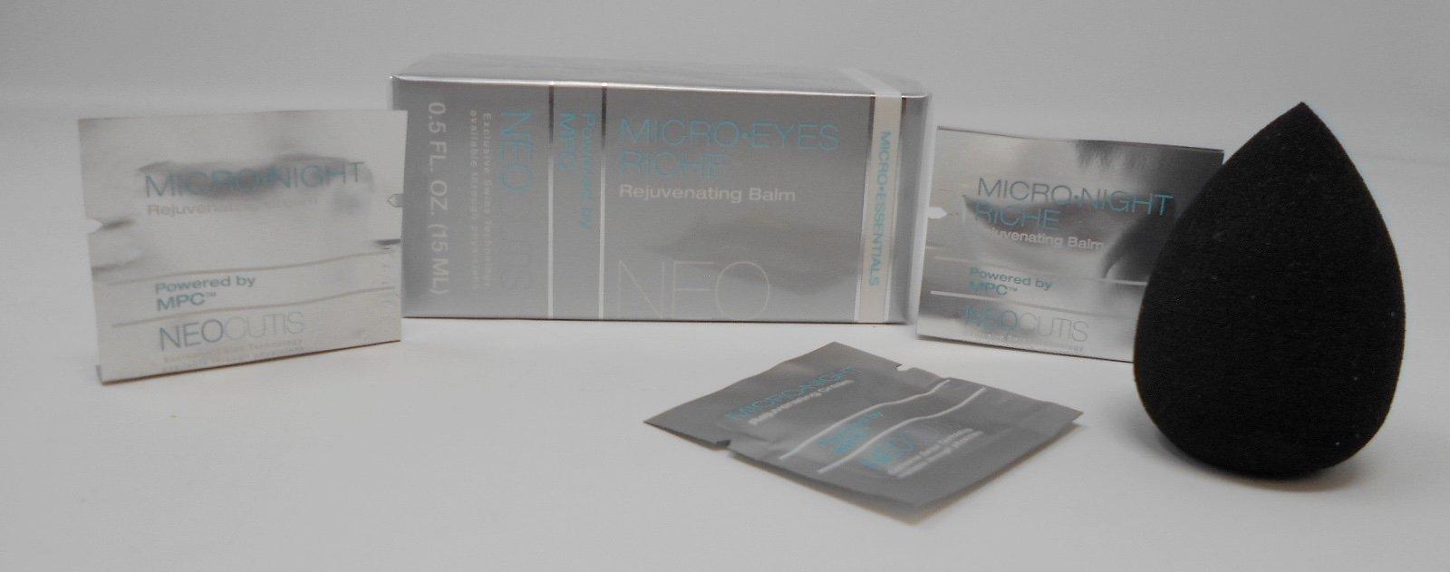 Neocutis Micro Eyes Riche Rejuvenating Balm, 0.5 FL. Oz. Plus Free Cosmetic Blender Sponge and 3 Mixed Samples