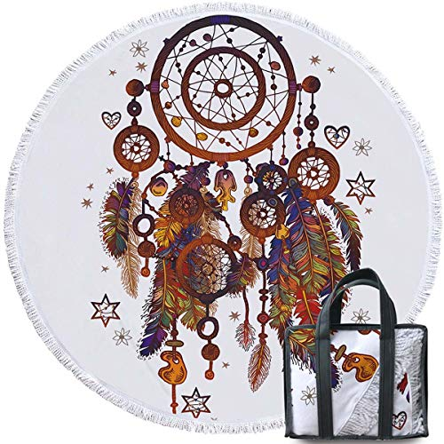 (Sleepwish Dream Catcher Feathers Large Round Beach Blanket with Tassels Circle Beach Towels Oversized (Tribal Dreamcatcher, 60