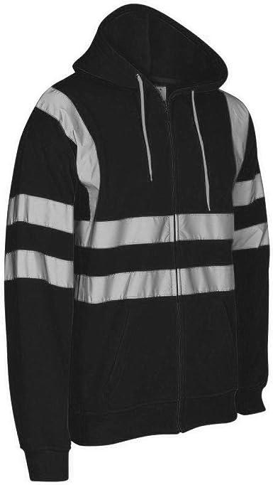 Janisramone New Mens Hi Vis Visibility Fleece Viz Safety Work Wear Sweatshirt Hoodie Jacket