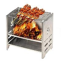 Lixada Outdoor Holzofen Tragbar Campingkocher für Picknick BBQ Camping EdelstahlTitanium ✔ eckig ✔ tragbar ✔ Grillen mit Holzkohle