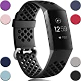 Wepro Bands Compatible with Fitbit Charge 4 / Charge 3 / Charge 3 SE, Waterproof Band with Breathable Holes for Women Men, Small, Large