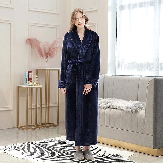 VJGOAL Albornoz Alargado para Mujer Invierno Casual Moda Color s/ólido Espesar C/álido Coralline Felpa Parejas T/única Vendaje de Manga Larga Ropa de Dormir Pijamas
