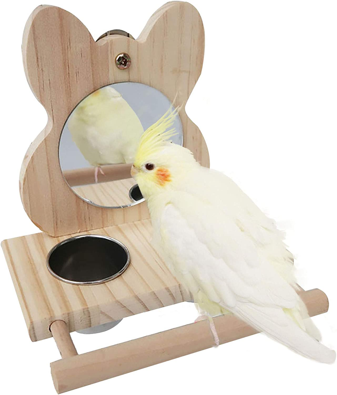 Hamiledyi Parrot Mirror Toy with Stainless Steel Feeding Cups Bird Wooden Frames with Cage Perch for Macaw African Greys Budgies Parakeet Cockatiels Conure Lovebird Finch