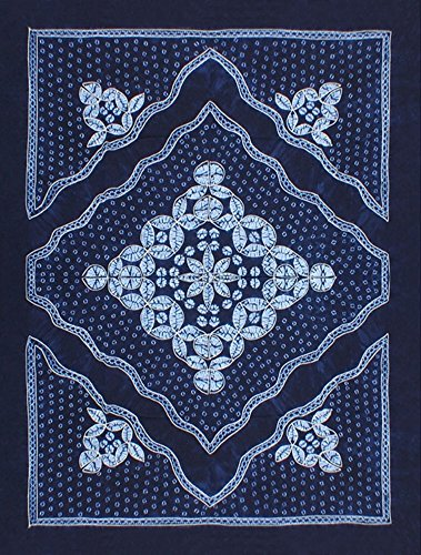 Interact China 100% Hand Batik All Cotton 150x200cm Table Cloth Cover Tapestry Throw Wall Decor #135 (China Tapestry Blue)