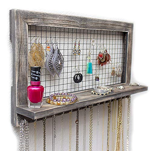 Micozy Shelf Rustic Jewelry Organizer with Bracelet Rod Wall Mounted | Wooden Wall Mount Holder for Earrings, Necklaces, Bracelets, and Many Other Accessories