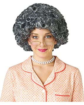 Horror-Shop Afro abuela peluca plateada