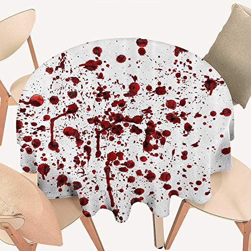 Dragonhome Premium Round Tablecloth Splashes of Blood Grunge Style Bloodstain Horror Scary Zombie Halloween Themed Everyday Use, 51 INCH -